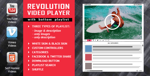 Revolution Video Player With Bottom Playlist v2.1 - YouTube/Vimeo/Self-Hosted Support